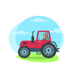 tractor riding on green grass vector image