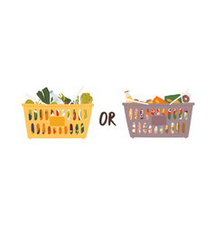 Two large grocery nutrition baskets flat vector