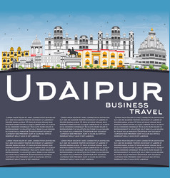 Udaipur skyline with color buildings blue sky and vector