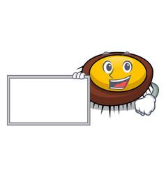With board sea urchin character cartoon vector