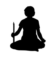 woman sitting in lotus position with candle vector image