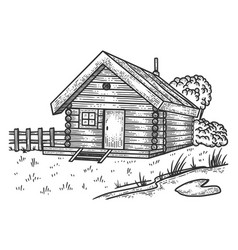 wooden farm house sketch vector image