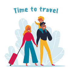 young family travelling together time to travel vector image