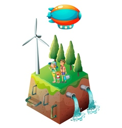 A family near a windmill vector image vector image
