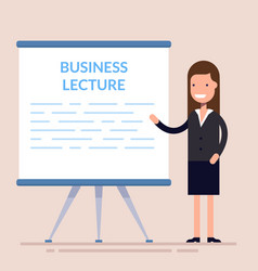 businesswomen present with board cute woman vector image vector image