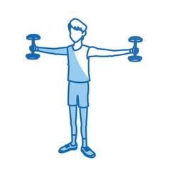Cartoon sport man weight lifting design graphic vector