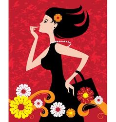 fashion shopping girl vector image vector image
