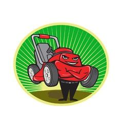 Lawn Mower Man Cartoon Oval vector image vector image
