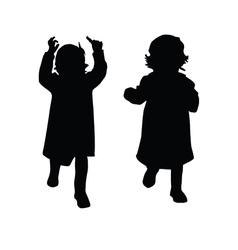 little girl silhouette vector image