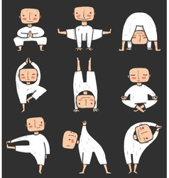 Man doing Yoga Asana Collection vector image