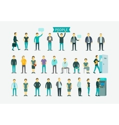 Set with people flat conception vector image vector image