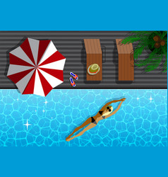 top view of modern resort and woman in swimming vector image