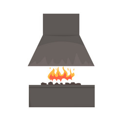 barbecue smoker with fire barbecue grill bbq vector image