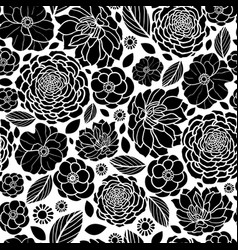black and white mosaic flowers seamless vector image