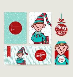 christmas holiday card template cartoon elf set vector image vector image