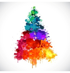 Colorful abstract paint spash Christmas tree vector image vector image