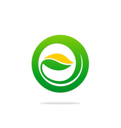 Green leaf abstract round organic logo vector
