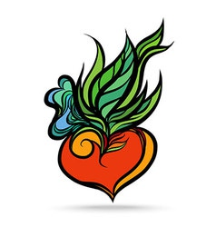 Heart Leaf Hand Drawing Color vector image vector image