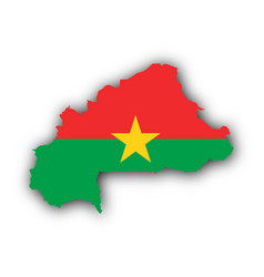 map and flag of burkina faso vector image vector image
