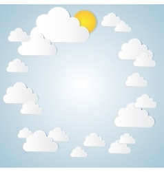 Paper cloud with the sun in the blue sky vector image
