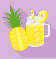 pineapple juice in mason jar flat design vector image vector image