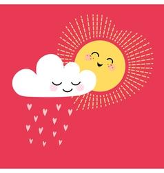 Sun and cloud vector