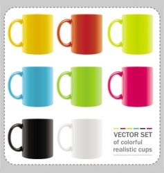 colorful mugs vector image vector image