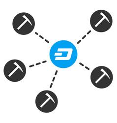 dash mining network flat icon vector image vector image