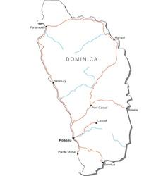 Dominica Black White Map vector image
