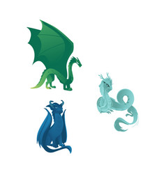 dragon characters with wings whiskers and horns vector image vector image
