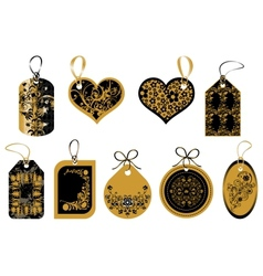 Labels in gold and black colors vector