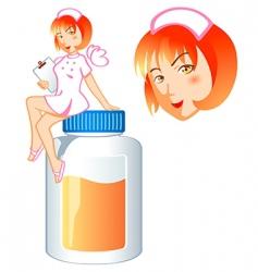 nurse pill fairy vector image vector image