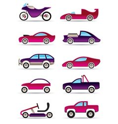 Racing cars motorcycles and off roads vector image