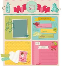 Scrapbook Design Elements - Baby Girl Cute Set vector image vector image