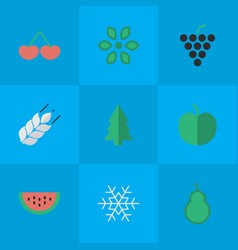 set of simple garden icons elements corn blossom vector image vector image