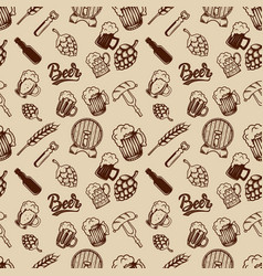 beer seamless pattern beer mugs bottles wheat vector image vector image