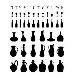 Bottles glasses and corkscrew vector