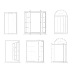Different types of windows Realistic decorative vector image vector image