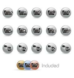Folder Icons 1 MetalRound Series vector image