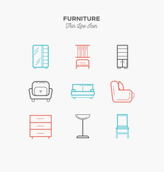 furniture sofa table chair curbstone and more vector image vector image