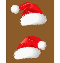 Red christmas hats of Santa Claus vector image vector image