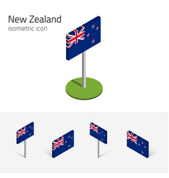 3d flag new zealand isometric icons vector