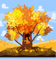 Autumn treee oak with cute squirrell acorn vector