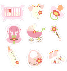 Baby girl items icons vector