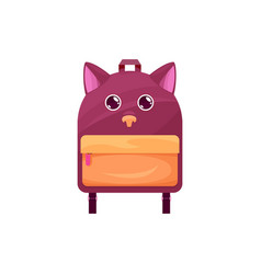 Baby schoolbag with cat or dog muzzle and ears vector