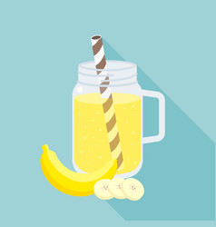 banana smoothie in mason jar flat design vector image