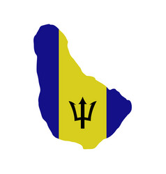 barbados map with flag vector image