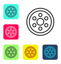 Black line alloy wheel for a car icon isolated on vector