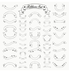 Black Outlined Hand Drawn Ribbons Banners vector image