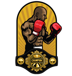 Boxer pose with boxing champion belt vector